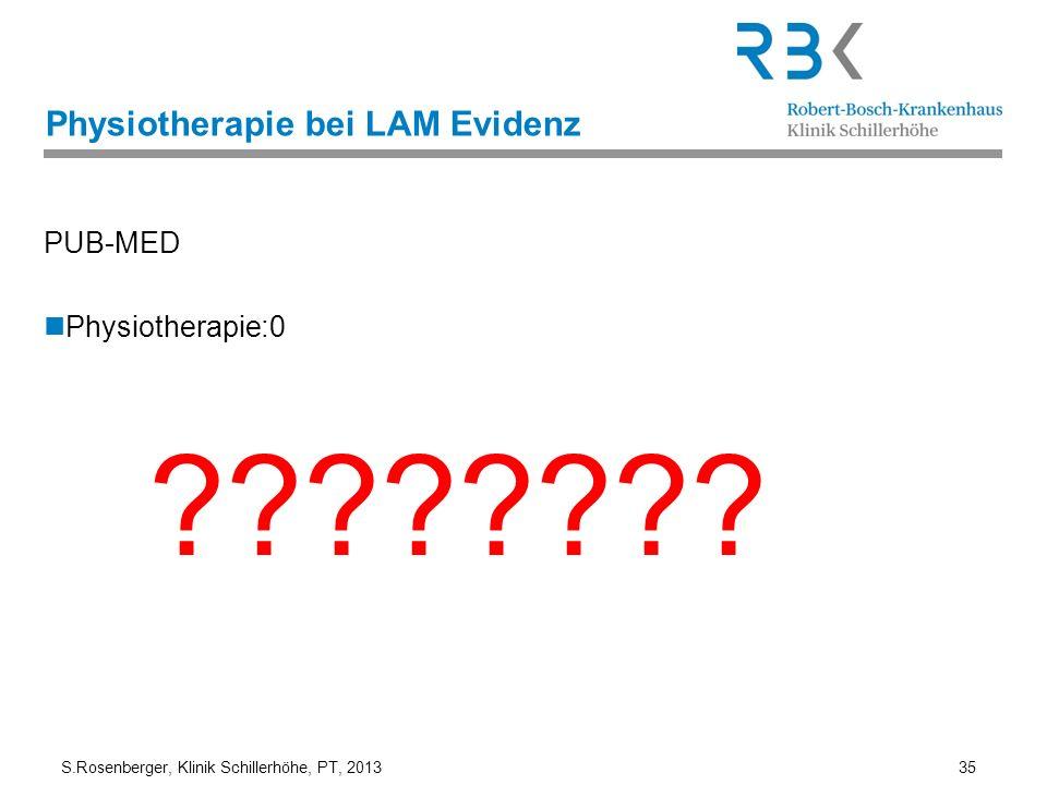 S.Rosenberger, Klinik Schillerhöhe, PT, 2013 35 Physiotherapie bei LAM Evidenz PUB-MED Physiotherapie:0 ????????