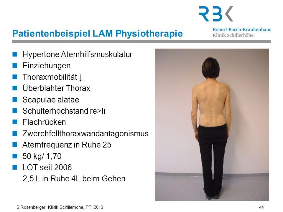S.Rosenberger, Klinik Schillerhöhe, PT, 2013 44 Patientenbeispiel LAM Physiotherapie Hypertone Atemhilfsmuskulatur Einziehungen Thoraxmobilität Überbl