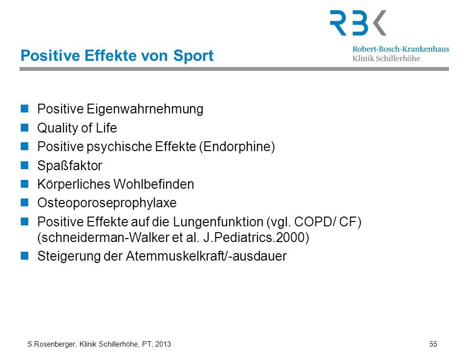S.Rosenberger, Klinik Schillerhöhe, PT, 2013 55 Positive Effekte von Sport Positive Eigenwahrnehmung Quality of Life Positive psychische Effekte (Endo