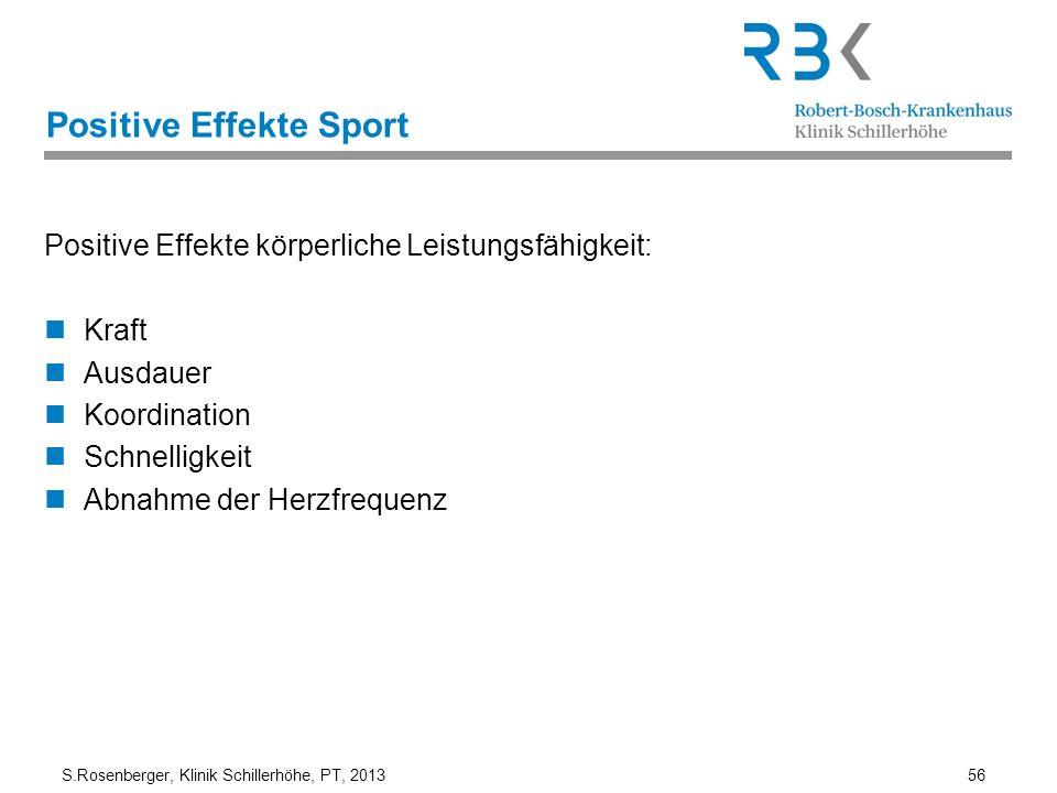 S.Rosenberger, Klinik Schillerhöhe, PT, 2013 56 Positive Effekte Sport Positive Effekte körperliche Leistungsfähigkeit: Kraft Ausdauer Koordination Sc