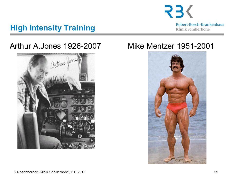 S.Rosenberger, Klinik Schillerhöhe, PT, 2013 59 High Intensity Training Arthur A.Jones 1926-2007 Mike Mentzer 1951-2001