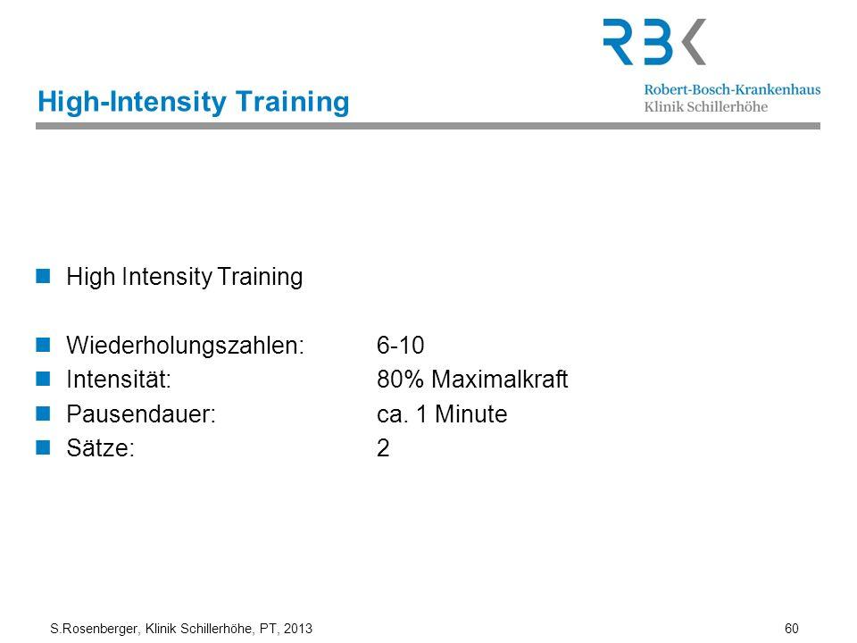 S.Rosenberger, Klinik Schillerhöhe, PT, 2013 60 High-Intensity Training High Intensity Training Wiederholungszahlen: 6-10 Intensität: 80% Maximalkraft