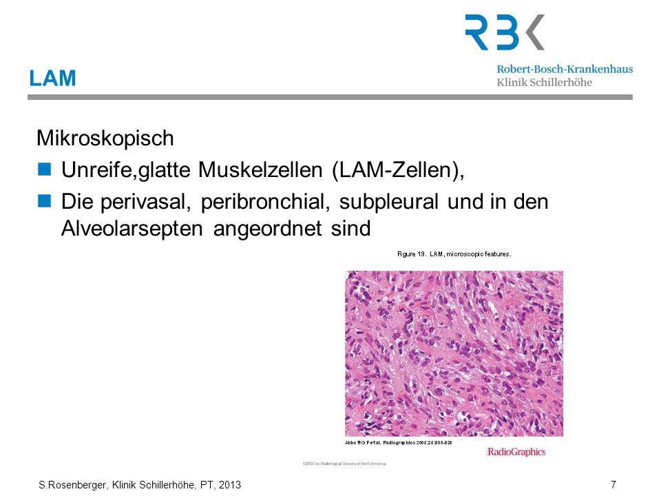 S.Rosenberger, Klinik Schillerhöhe, PT, 2013 7 LAM Mikroskopisch Unreife,glatte Muskelzellen (LAM-Zellen), Die perivasal, peribronchial, subpleural un