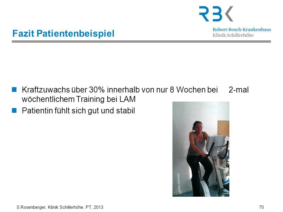 S.Rosenberger, Klinik Schillerhöhe, PT, 2013 70 Fazit Patientenbeispiel Kraftzuwachs über 30% innerhalb von nur 8 Wochen bei 2-mal wöchentlichem Train