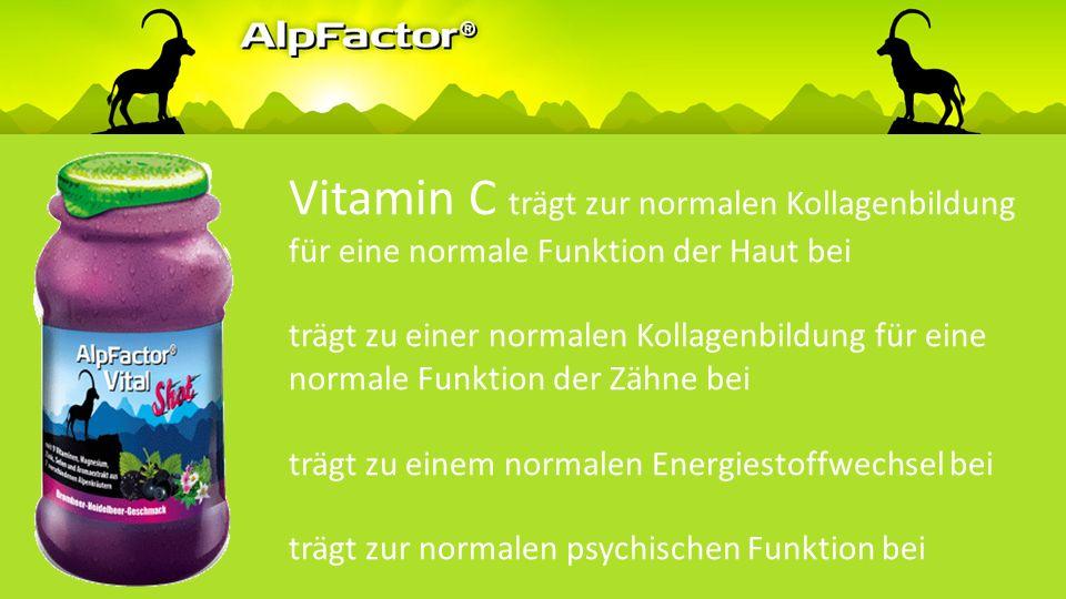 Vitamin C trägt zu einer normalen Kollagenbildung für eine normale Funktion der Knochen trägt zu einer normalen Kollagenbildung für eine normale Knorp