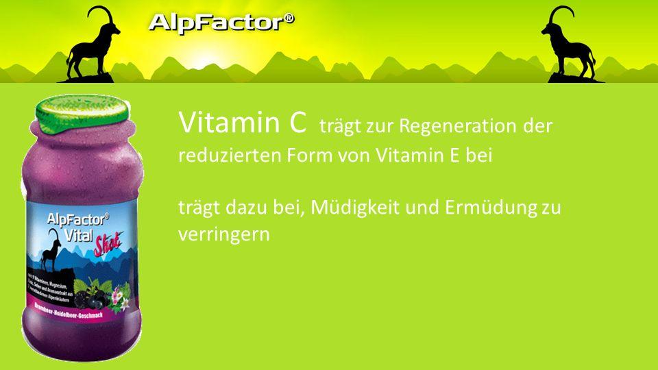Vitamin C trägt zu einer normalen Funktion des Nervensystems bei trägt zur normalen Funktion des Immunsystems bei trägt dazu bei, die Zellen vor oxidativem Stress zu schützen erhöht die Eisenaufnahme
