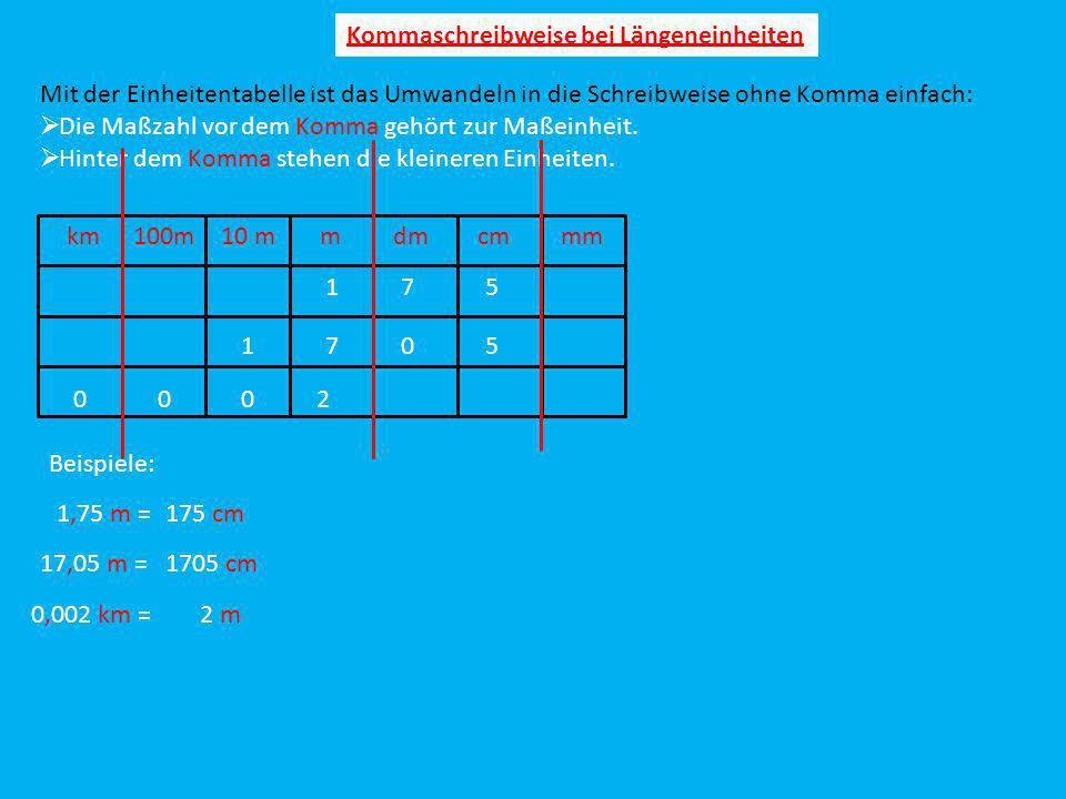 Kommaschreibweise bei Längeneinheiten Mit der Einheitentabelle ist das Umwandeln in die Schreibweise ohne Komma einfach: Die Maßzahl vor dem Komma geh