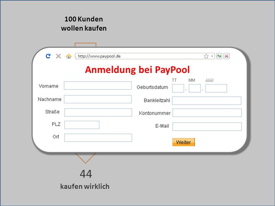 kaufen wirklich 44 Weiterleitung zu fremder Bezahlseite 100 Kunden wollen kaufen Anmeldung bei PayPool http://www.paypool.de