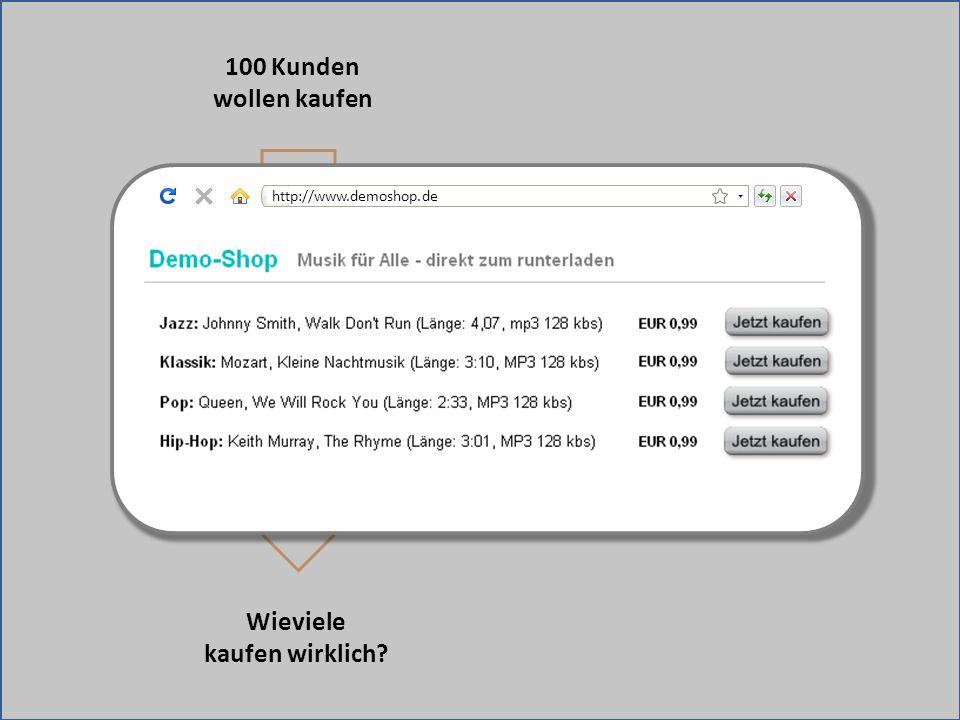 Weiterleitung zu fremder Bezahlseite 100 Kunden wollen kaufen Wieviele kaufen wirklich? http://www.demoshop.de