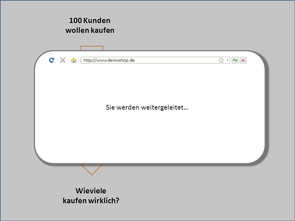 Weiterleitung zu fremder Bezahlseite Sie werden weitergeleitet… 100 Kunden wollen kaufen Wieviele kaufen wirklich? http://www.demoshop.de