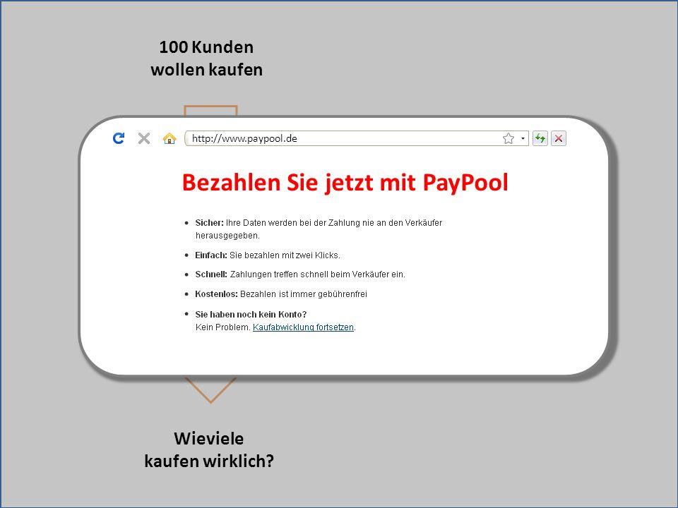 Weiterleitung zu fremder Bezahlseite 100 Kunden wollen kaufen Wieviele kaufen wirklich? Bezahlen Sie jetzt mit PayPool http://www.paypool.de