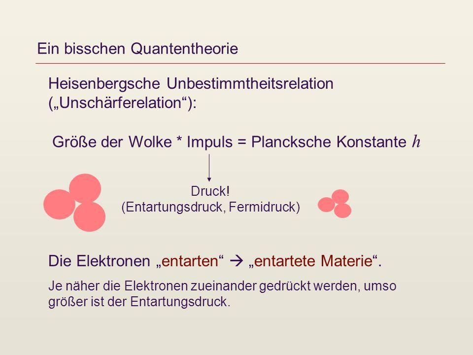 Ein bisschen Quantentheorie Heisenbergsche Unbestimmtheitsrelation (Unschärferelation): Die Elektronen entarten entartete Materie. Je näher die Elektr