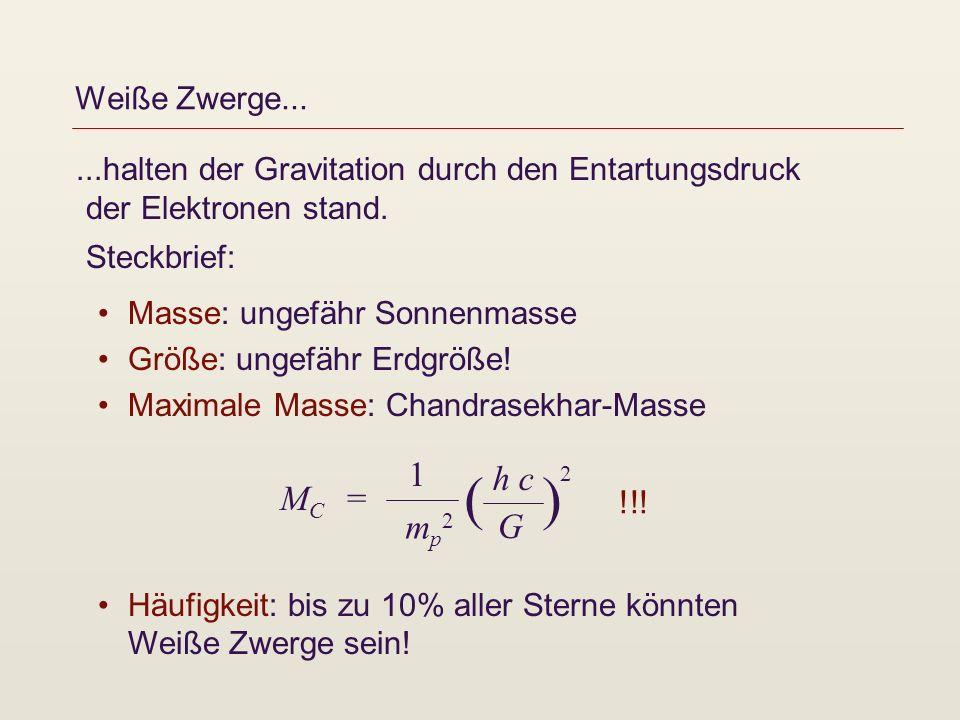 Weiße Zwerge......halten der Gravitation durch den Entartungsdruck der Elektronen stand. Steckbrief: Masse: ungefähr Sonnenmasse Größe: ungefähr Erdgr