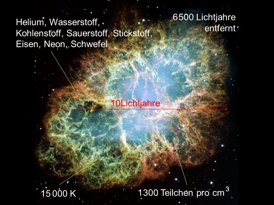 Helium, Wasserstoff, Kohlenstoff, Sauerstoff, Stickstoff, Eisen, Neon, Schwefel 15 000 K 1 300 Teilchen pro cm 3 6 500 Lichtjahre entfernt 10Lichtjahr