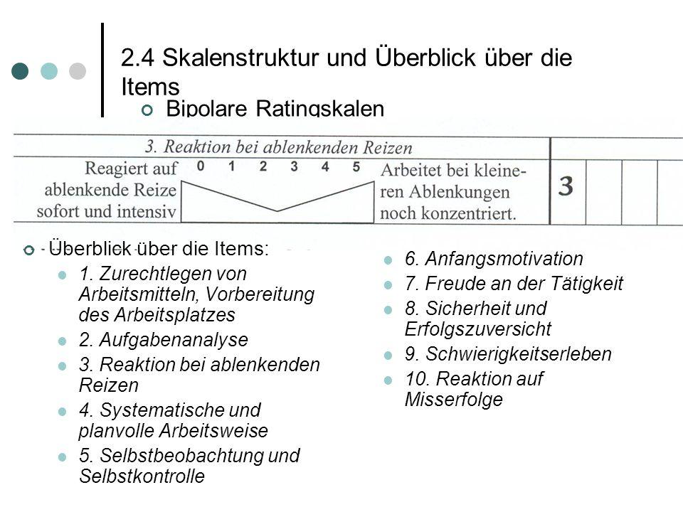 2.4 Skalenstruktur und Überblick über die Items Bipolare Ratingskalen 6. Anfangsmotivation 7. Freude an der Tätigkeit 8. Sicherheit und Erfolgszuversi