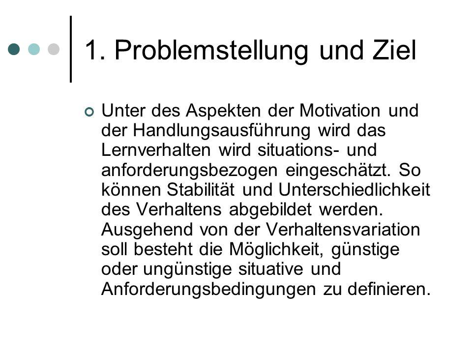 1. Problemstellung und Ziel Unter des Aspekten der Motivation und der Handlungsausführung wird das Lernverhalten wird situations- und anforderungsbezo