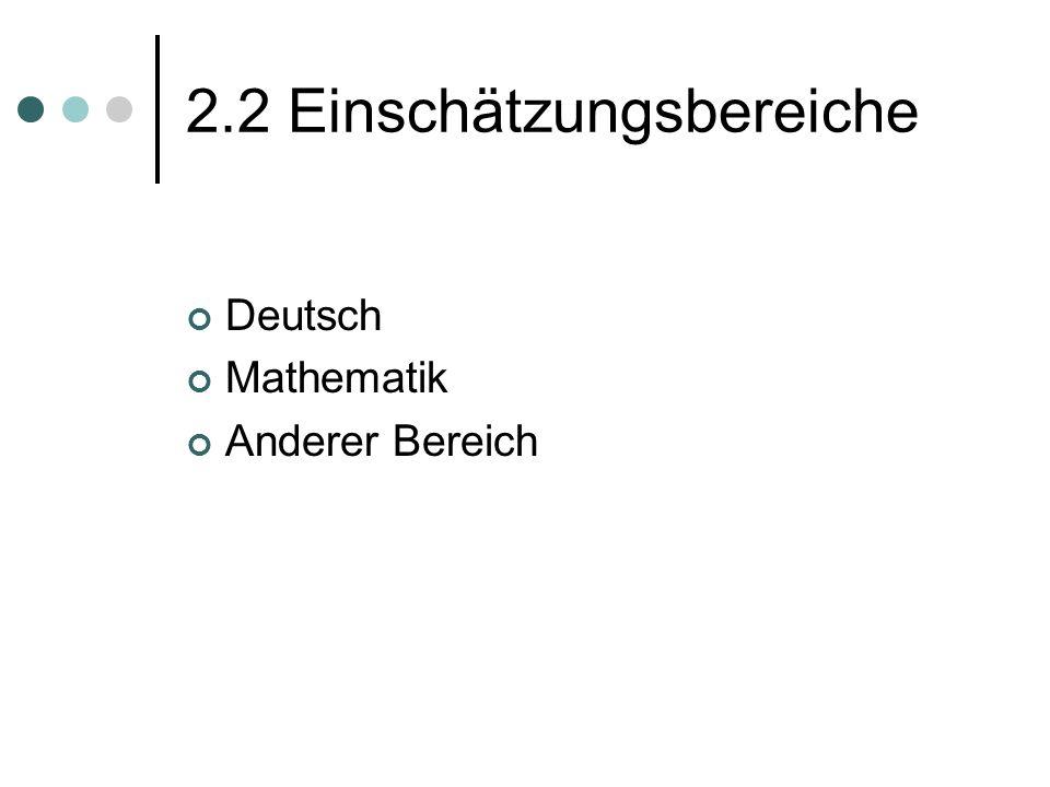 2.2 Einschätzungsbereiche Deutsch Mathematik Anderer Bereich