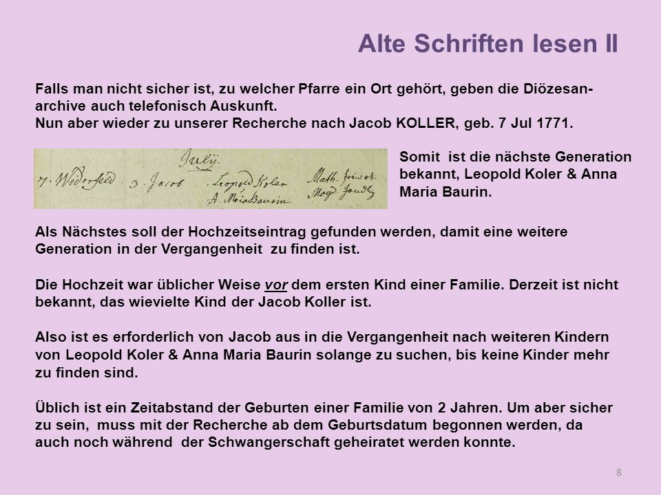 Familie 1 Vater 1: Leopold Koller 3113 Widerfeld Mutter 1: Magdalena Siess 3114 Gutenbrunn H-Datum: 21 Nov 1756 Kind 1: Anna Marie 28 Nov 1757 3115 02-Taufe_0053 Kind 2: Michael 15 Sep 1759 1352 Kind 3: Theresia 29 Apr 1762 3478 Kind 4: Magdalena 22 Jul 1764 3650 02-Taufe_0084 Kind 5: Mathias 26 Jan 1767 4010 Buch 02-Taufe_0098 Bemerkung: Magdalena Koller (Siess) 28 Jun 1767 Widerfeld gestorben 39 Alte Schriften lesen II