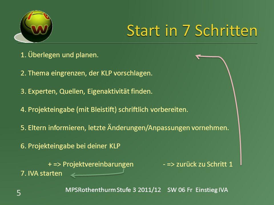 ° SW 06«kick – off» Wunschthema eingrenzen lückenloses Protokoll führen ° SW 06 – 10 Planung, Informationsbeschaffung, Links, Material beschaffen, Versuch erproben, Experten finden ° SW 10 – 14 Gliederung, Zeitplan, Thema bei der KLP anmelden & fixieren, Recherchen sammeln (Ordner Papier/elektronisch) ° ca SW 19 Intensivwoche zum Start und Einstieg ° ca SW 20 – 33Arbeitsphase (1 Lektion Deutsch / Woche) (Versuche / Dokumentation / Quellen) ° ca SW 25–33Arbeitsphase (anteilig Unterrichtszeit einiger Fächer ICT, INL, Geo, Deutsch, Lebenskunde) ° SW 34 Abgabe schriftlicher Teil und Fotodok des Produktes ° SW 34 – 38 Fertigstellung des konkreten Produktes ° SW 37 – 38 Vortrag / Demonstration / Bewertung ° SW 39Präsentation mit/vor geladenen Eltern / LehrmeisterInnen 6 MPSRothenthurm Stufe 3 2011/12 SW 06 Fr Einstieg IVA