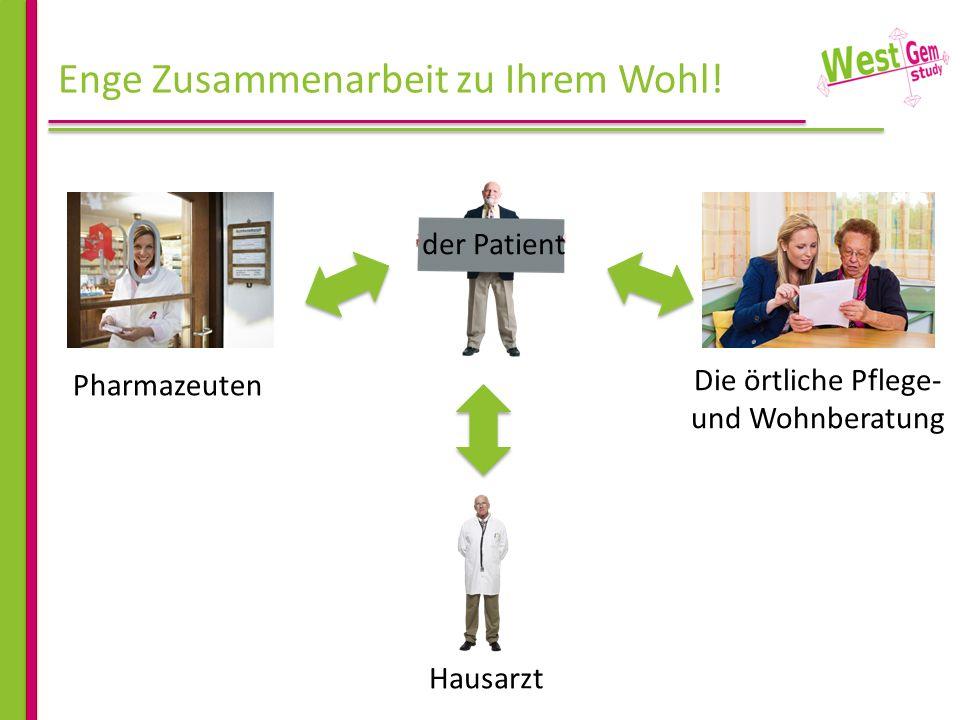 Enge Zusammenarbeit zu Ihrem Wohl! der Patient Hausarzt Die örtliche Pflege- und Wohnberatung Pharmazeuten