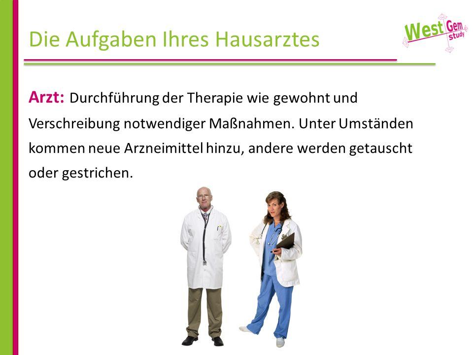 Die Aufgaben Ihres Hausarztes Arzt: Durchführung der Therapie wie gewohnt und Verschreibung notwendiger Maßnahmen. Unter Umständen kommen neue Arzneim