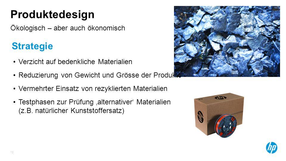 13 Ökologisch – aber auch ökonomisch Produktedesign Strategie Verzicht auf bedenkliche Materialien Reduzierung von Gewicht und Grösse der Produkte Ver