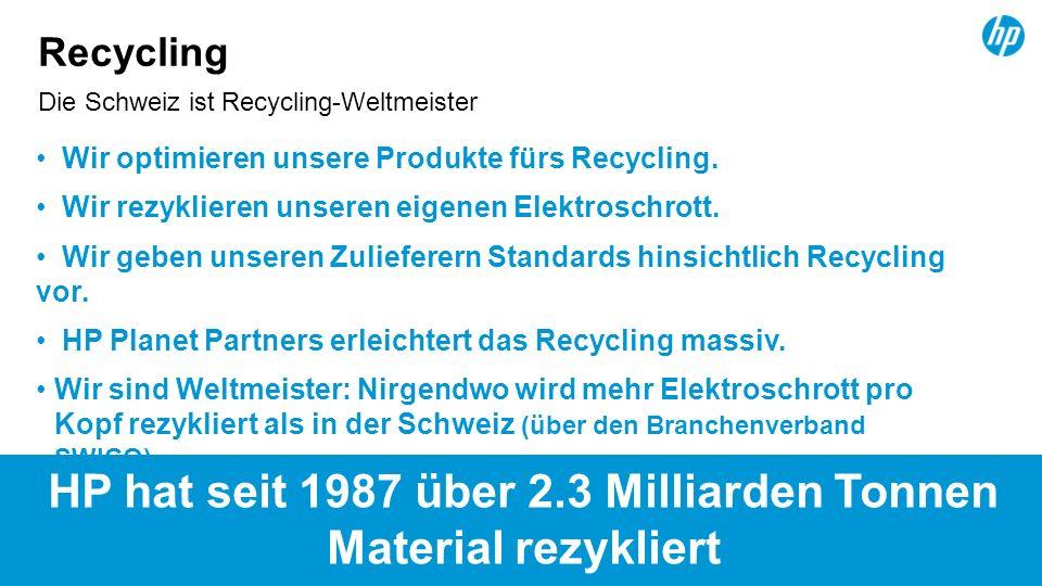 15 Die Schweiz ist Recycling-Weltmeister Recycling Wir optimieren unsere Produkte fürs Recycling. Wir rezyklieren unseren eigenen Elektroschrott. Wir