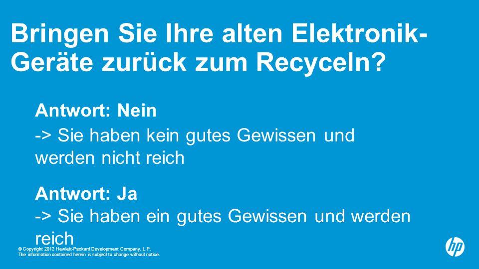 14 Ökologisch – aber auch ökonomisch Rücknahmeprogramme Für Partner und Kunden HP Planet Partner für Tinten- patronen und Laserkassetten Freiwilliges Recyclingprogramm für Elektroaltgeräte unserer Unternehmenskunden