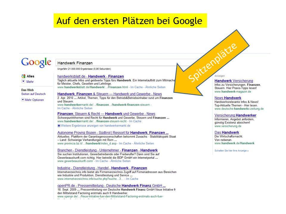 Spitzenplätze Auf den ersten Plätzen bei Google