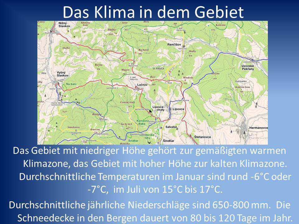 Das Klima in dem Gebiet Das Gebiet mit niedriger Höhe gehört zur gemäßigten warmen Klimazone, das Gebiet mit hoher Höhe zur kalten Klimazone.