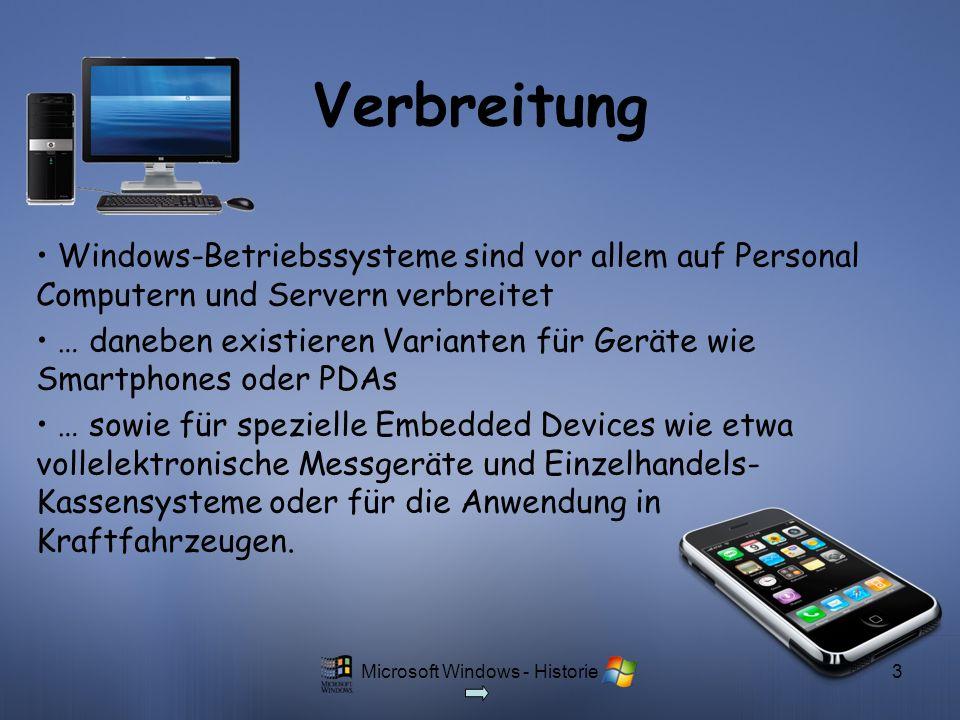 Microsoft Windows - Historie3 Verbreitung Windows-Betriebssysteme sind vor allem auf Personal Computern und Servern verbreitet … daneben existieren Va