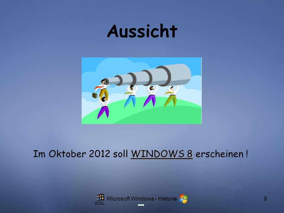 Microsoft Windows - Historie9 Aussicht WINDOWS 8 Im Oktober 2012 soll WINDOWS 8 erscheinen !