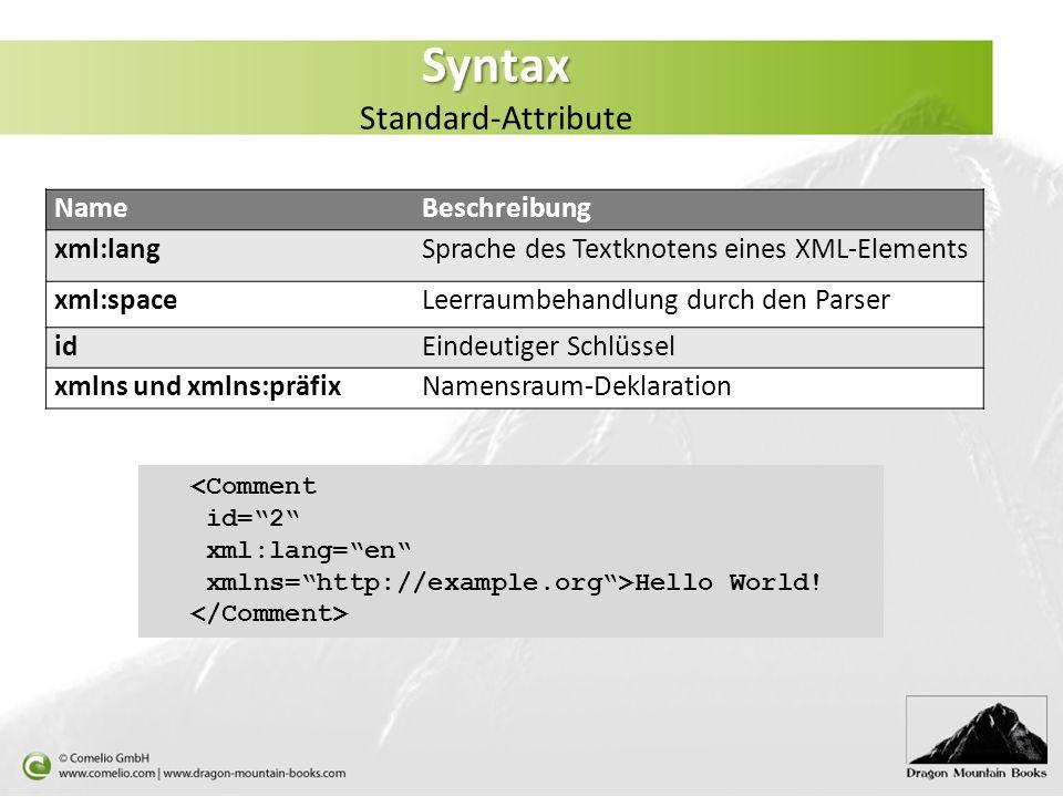 Syntax Syntax Standard-Attribute NameBeschreibung xml:langSprache des Textknotens eines XML-Elements xml:spaceLeerraumbehandlung durch den Parser idEi