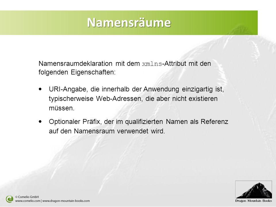 Namensräume Namensraumdeklaration mit dem xmlns -Attribut mit den folgenden Eigenschaften: URI-Angabe, die innerhalb der Anwendung einzigartig ist, ty