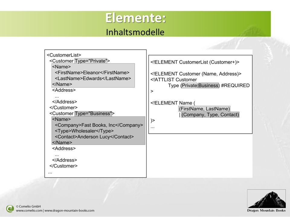 Elemente: Elemente: Inhaltsmodelle