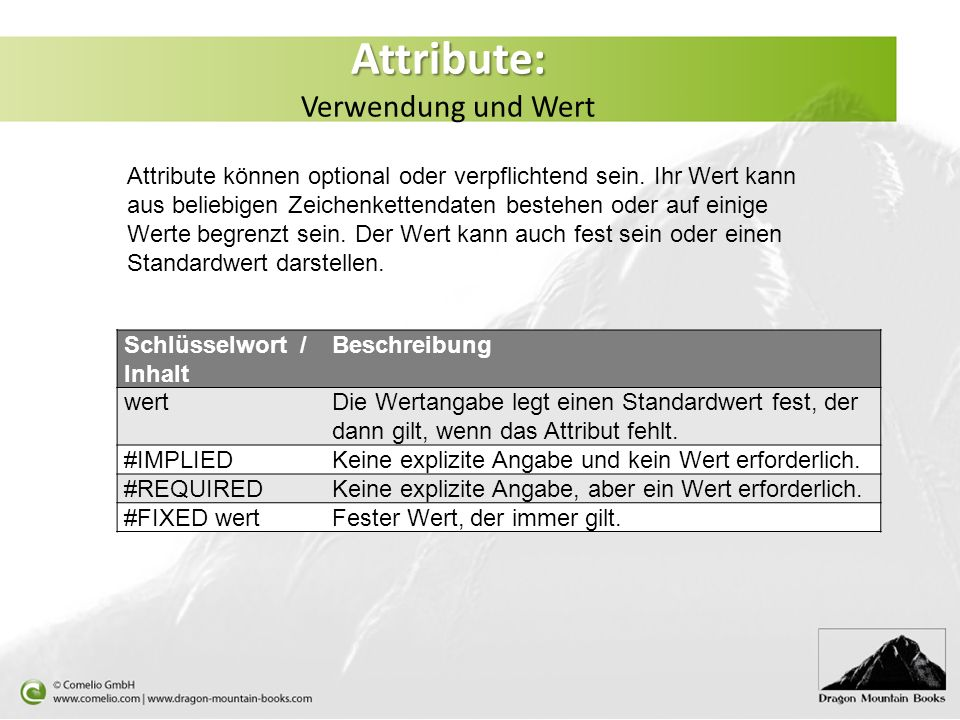Attribute: Attribute: Verwendung und Wert Attribute können optional oder verpflichtend sein. Ihr Wert kann aus beliebigen Zeichenkettendaten bestehen