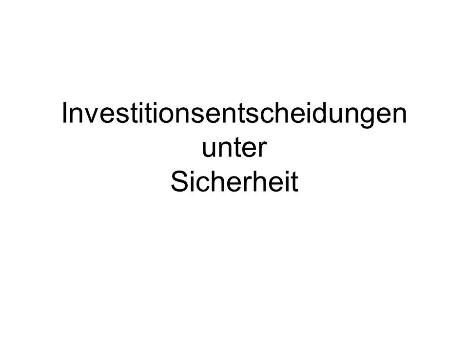 22 =Barwert Project A, NPV = -407.30;Project C, NPV = 530.85 Project B, NPV = 510.70;Project D, NPV = 519.20 Gegen Intuition: Bei negativem Barwert gilt: weniger Zins erhöht negativen Wert.