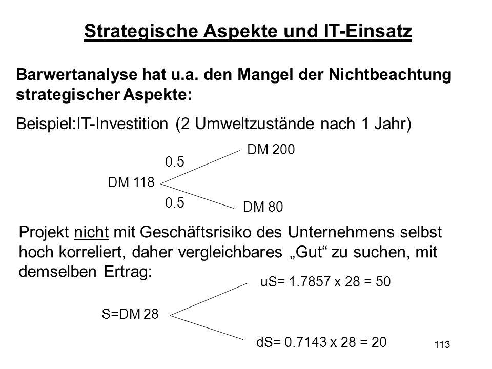 113 Barwertanalyse hat u.a. den Mangel der Nichtbeachtung strategischer Aspekte: Beispiel:IT-Investition (2 Umweltzustände nach 1 Jahr) Projekt nicht