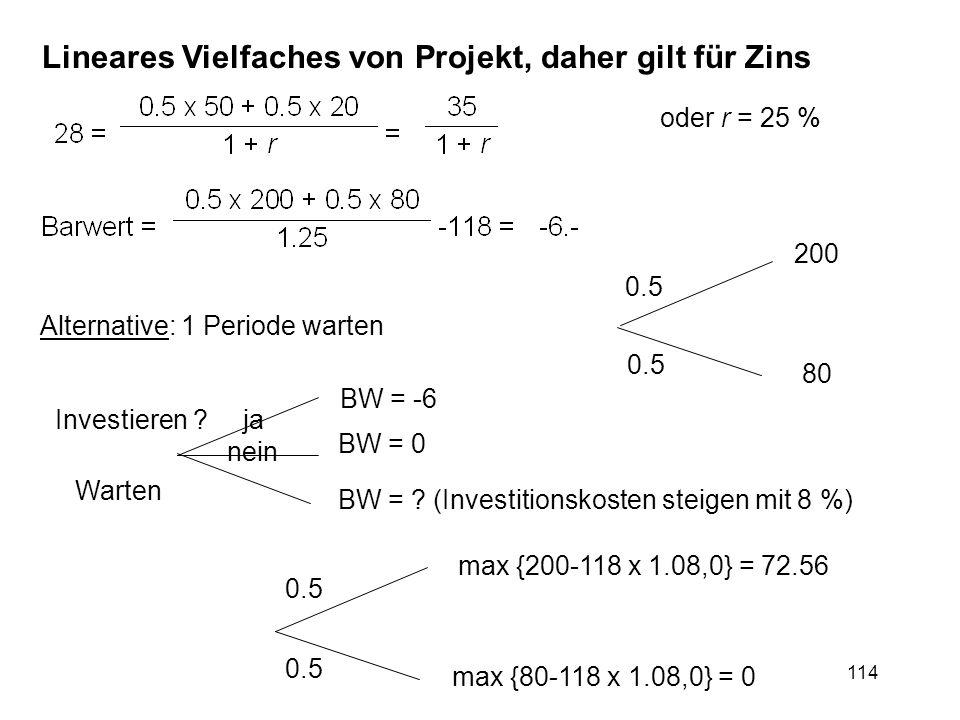 114 oder r = 25 % Alternative: 1 Periode warten 0.5 200 80 0.5 max {200-118 x 1.08,0} = 72.56 max {80-118 x 1.08,0} = 0 Investieren ? Warten BW = -6 B