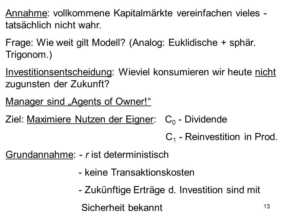 13 Annahme: vollkommene Kapitalmärkte vereinfachen vieles - tatsächlich nicht wahr. Frage: Wie weit gilt Modell? (Analog: Euklidische + sphär. Trigono