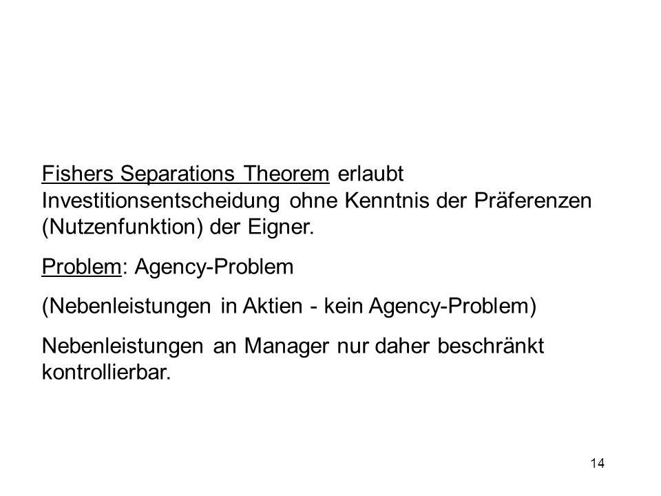 14 Fishers Separations Theorem erlaubt Investitionsentscheidung ohne Kenntnis der Präferenzen (Nutzenfunktion) der Eigner. Problem: Agency-Problem (Ne