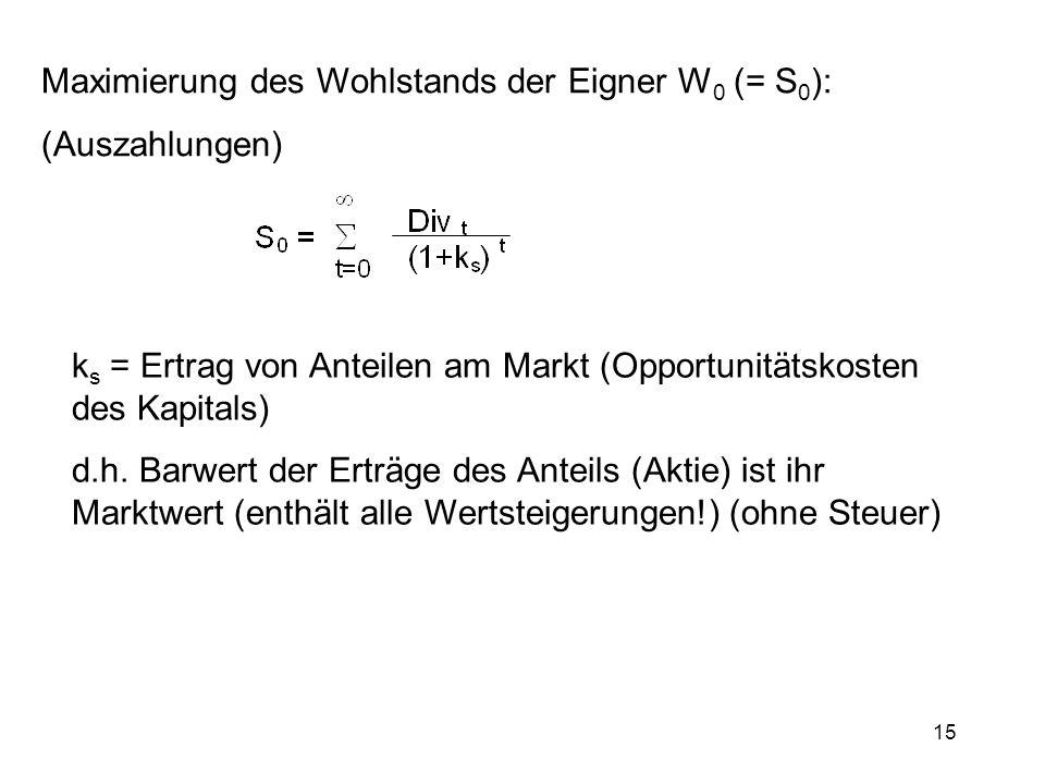 15 Maximierung des Wohlstands der Eigner W 0 (= S 0 ): (Auszahlungen) k s = Ertrag von Anteilen am Markt (Opportunitätskosten des Kapitals) d.h. Barwe