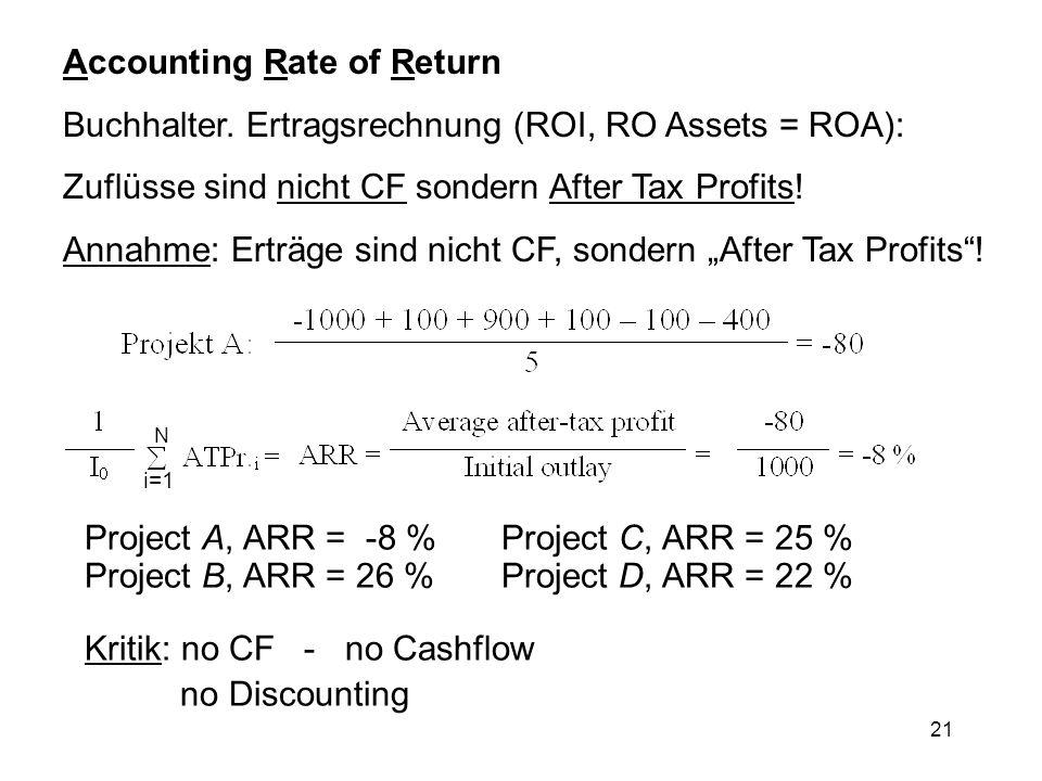 21 Accounting Rate of Return Buchhalter. Ertragsrechnung (ROI, RO Assets = ROA): Zuflüsse sind nicht CF sondern After Tax Profits! Annahme: Erträge si
