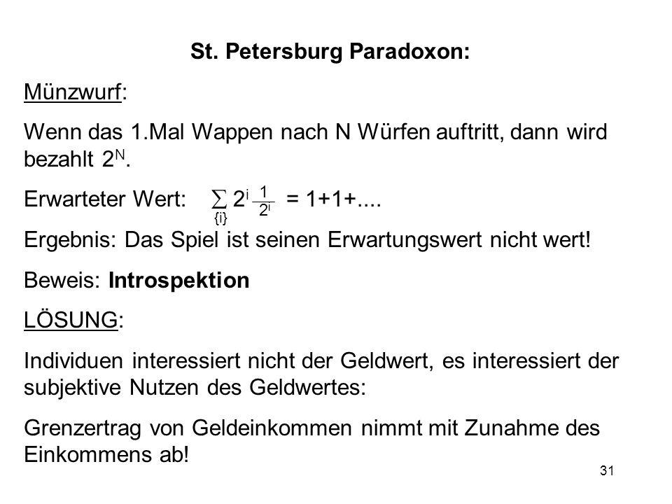 31 St. Petersburg Paradoxon: Münzwurf: Wenn das 1.Mal Wappen nach N Würfen auftritt, dann wird bezahlt 2 N. Erwarteter Wert: 2 i = 1+1+.... Ergebnis: