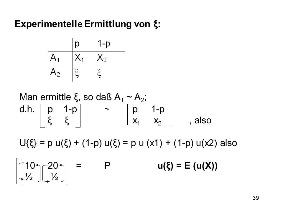 39 Experimentelle Ermittlung von ξ: Man ermittle ξ, so daß A 1 ~ A 2 ; d.h. p 1-p~p 1-p ξ ξx 1 x 2, also U{ξ} = p u(ξ) + (1-p) u(ξ) = p u (x1) + (1-p)