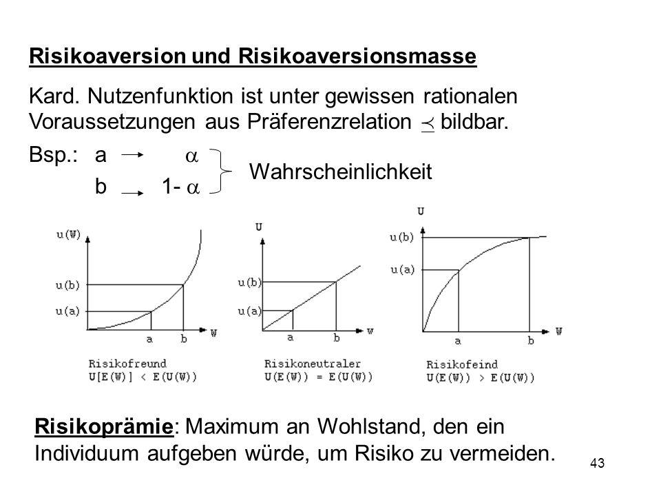 43 Risikoaversion und Risikoaversionsmasse Kard. Nutzenfunktion ist unter gewissen rationalen Voraussetzungen aus Präferenzrelation bildbar. Bsp.: a b