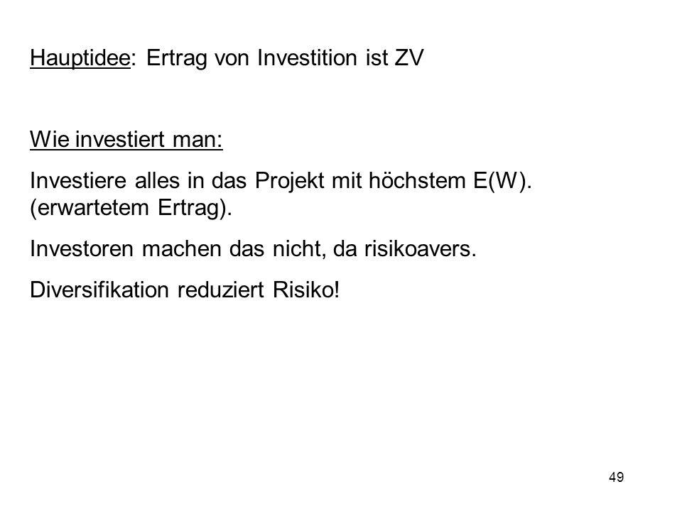 49 Hauptidee: Ertrag von Investition ist ZV Wie investiert man: Investiere alles in das Projekt mit höchstem E(W). (erwartetem Ertrag). Investoren mac