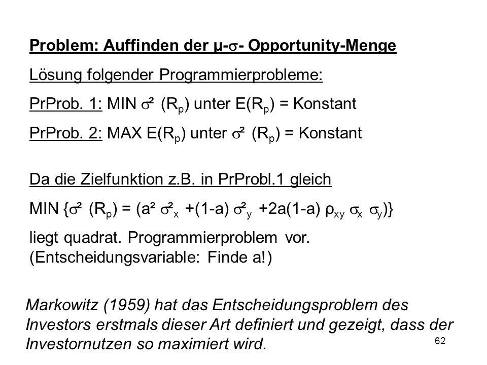 62 Problem: Auffinden der µ- - Opportunity-Menge Lösung folgender Programmierprobleme: PrProb. 1: MIN ² (R p ) unter E(R p ) = Konstant PrProb. 2: MAX