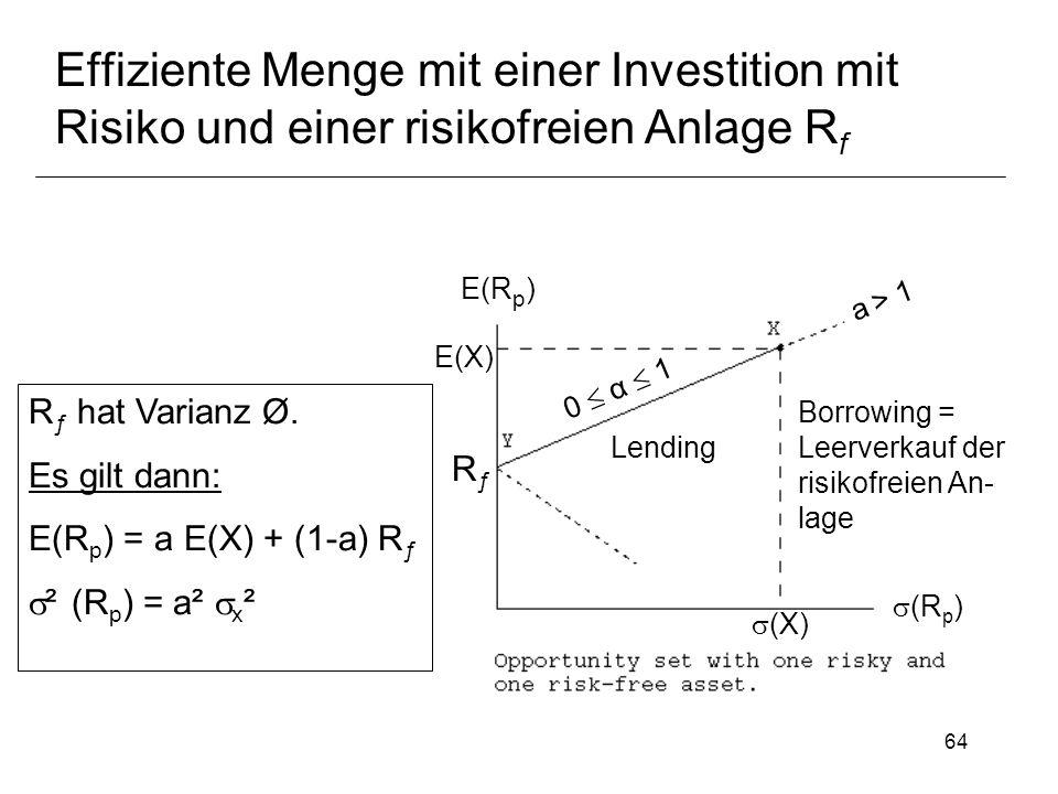 64 Effiziente Menge mit einer Investition mit Risiko und einer risikofreien Anlage R f R ƒ hat Varianz Ø. Es gilt dann: E(R p ) = a E(X) + (1-a) R ƒ ²