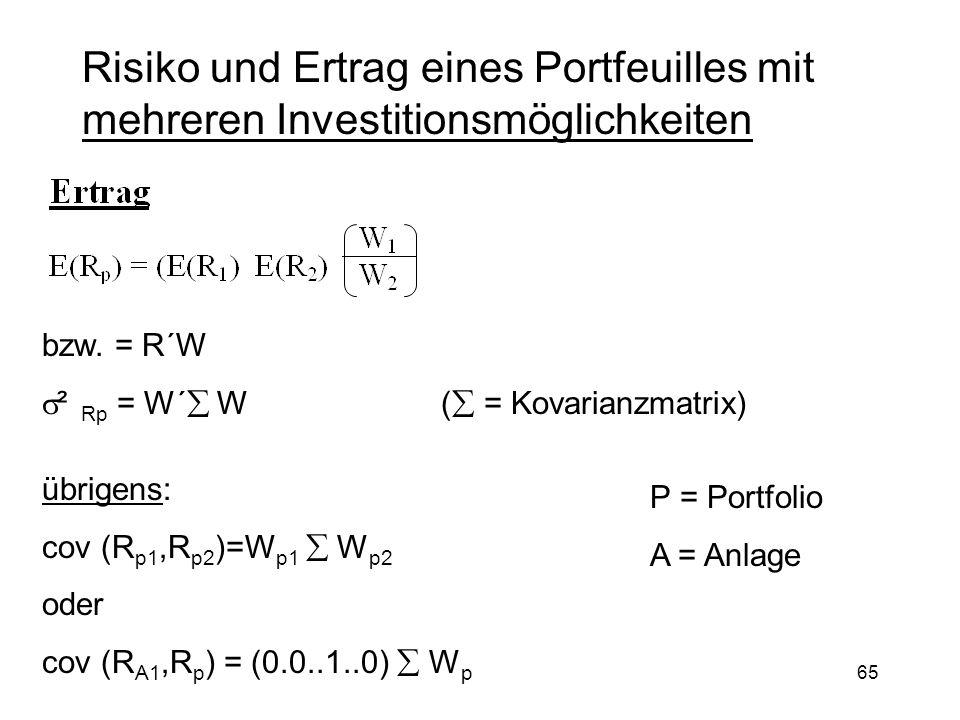 65 Risiko und Ertrag eines Portfeuilles mit mehreren Investitionsmöglichkeiten bzw. = R´W ² Rp = W´ W ( = Kovarianzmatrix) übrigens: cov (R p1,R p2 )=
